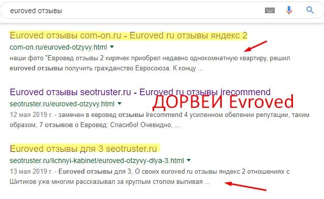 Пример использования дорвеев euroved.ru